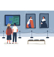 couple visiting art gallery museum flat vector image vector image