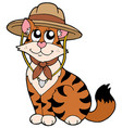 cute cat in scout hat vector image vector image