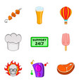 distribution of food icons set cartoon style vector image vector image