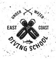 diving school emblem with diver flippers vector image vector image