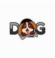 dog cartoon logo or mascot design for pet shop vector image vector image