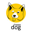 dog logo happy smiling winks playful emotions dog vector image
