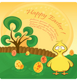 Easter card with chicken vector image vector image