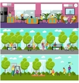 Family home and park concept banner People vector image vector image