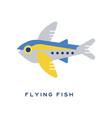 flying fish sea fish geometric flat style design vector image vector image