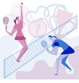 girls play a lot of tennis championship in tennis vector image vector image