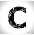 grunge letter c black font sketch style symbol vector image