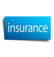 insurance blue paper sign on white background vector image vector image