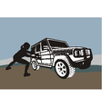 Large offroad and weak woman vector image vector image