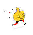 like runs thumb up with legs cartoon flat style vector image