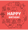 linear happy birthday vector image vector image