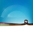 malawi ribbon flag on blue sky background vector image vector image
