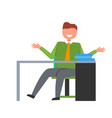 man on workplace in office vector image