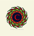 mandala chilli papper logo food elegant vector image vector image
