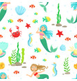 marine life seamless pattern cute little mermaids vector image