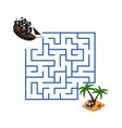 maze in cartoon style pirate ship and treasure vector image vector image