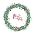 Round Christmas wreath with mistletoe branches vector image