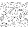 seamless pattern with hand drawn dinosaurs vector image