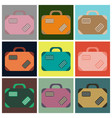 set of icons in flat design for airport suitcase vector image