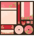 Set wedding invitations with flowers background