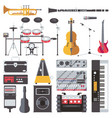 set with musical live instruments isolated vector image vector image