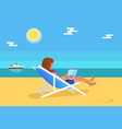 summer freelancer girl distant worker vector image vector image