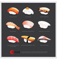 sushi asian food realistic isolated vector image