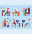 tired people dreaming at work vector image vector image