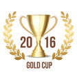 Trophy cup with laurel wreath 2016 vector image vector image