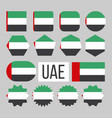 united arab emirates flag collection set vector image