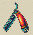 vintage straight razor colorful template vector image vector image