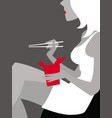 woman with thai food box and chopsticks vector image