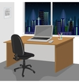 work desk interior with a laptop computer vector image vector image