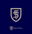 super team logo sport team emblem s and t letters vector image