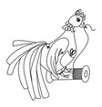 bird with spools thread and in clothes black a vector image
