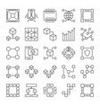 blockchain line icons set block chain vector image