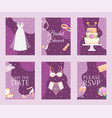 bridal shower set banners cards vector image vector image