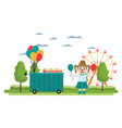 carnival shop car and clown girl vector image