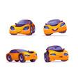 cartoon car character express happy sad emotions vector image