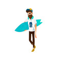 cartoon hipster man holding surf vector image