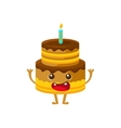 Chocolate Birthday Cake With Candle Happy vector image vector image