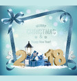 christmas holiday background with 2018 and gift vector image vector image