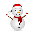christmas snowman in a santa hat on a white vector image