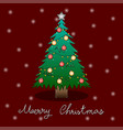 christmas tree and white snow greeting card vector image