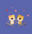 color background with couple of tigers dancing in vector image vector image
