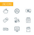 commerce icons line style set with savings vector image vector image