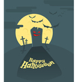 Dark cemetery in a full moon Happy Halloween vector image vector image