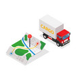 delivery cargo and map with pins - on vector image