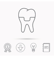 Dental crown icon Tooth prosthesis sign vector image