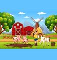 farmer at farm landscape vector image